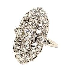 Vintage Old European Cut Diamond Navette Ring in Palladium 1.75 Carats Total