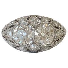Vintage Old European Cut Diamond Ring 1.94 Carat Platinum