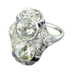 Vintage Old European Cut Diamond Ring Set in Platinum, circa 1920