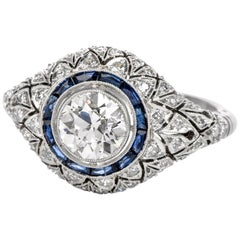 Old European Diamond Blue Sapphire Platinum Floral Open-Work Cocktail Ring