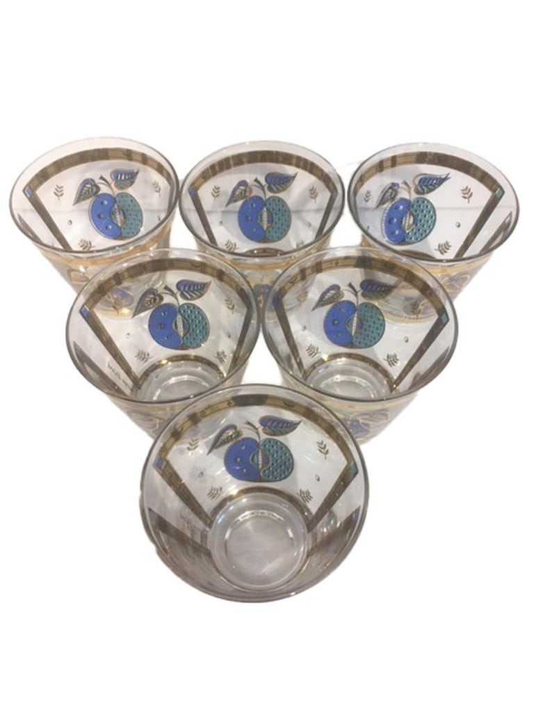 Mid-Century Modern Vintage Old Fashioned Glasses by Georges Briard in the Forbidden Fruit Pattern For Sale