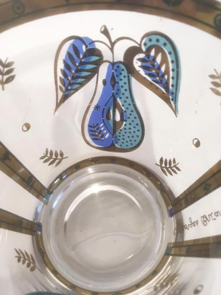 American Vintage Old Fashioned Glasses by Georges Briard in the Forbidden Fruit Pattern For Sale