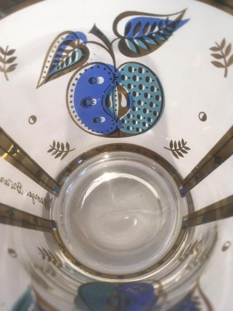 Enameled Vintage Old Fashioned Glasses by Georges Briard in the Forbidden Fruit Pattern For Sale