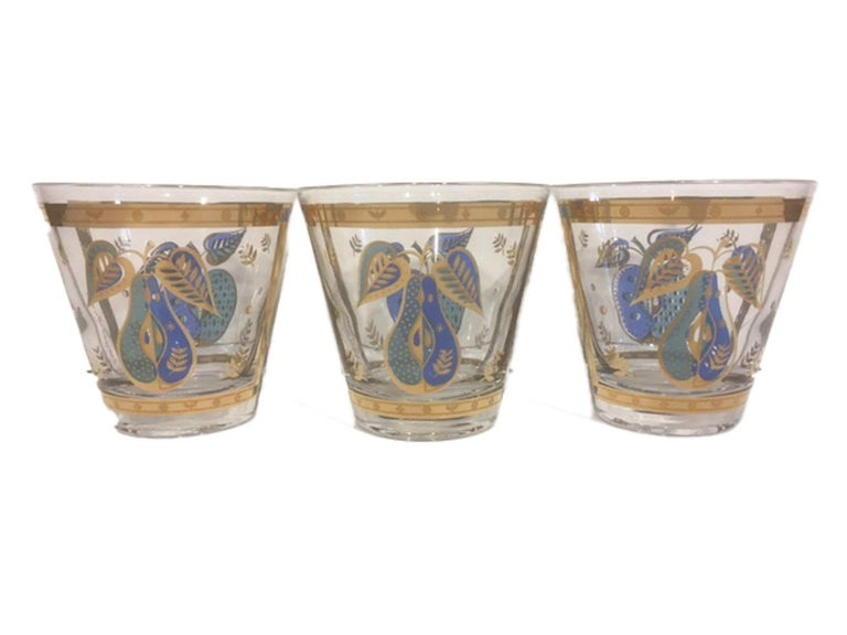 20th Century Vintage Old Fashioned Glasses by Georges Briard in the Forbidden Fruit Pattern For Sale