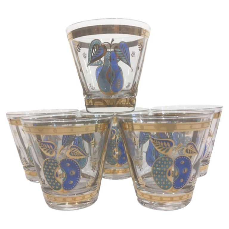Vintage Old Fashioned Glasses by Georges Briard in the Forbidden Fruit Pattern For Sale