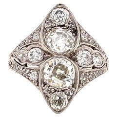 Vintage Old Mine Cut Diamond Palladium Ring