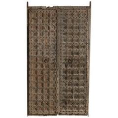 Vintage & Old Wooden Moroccan Door with Iron & Metal Knocker, Wabi Sabi, Antique
