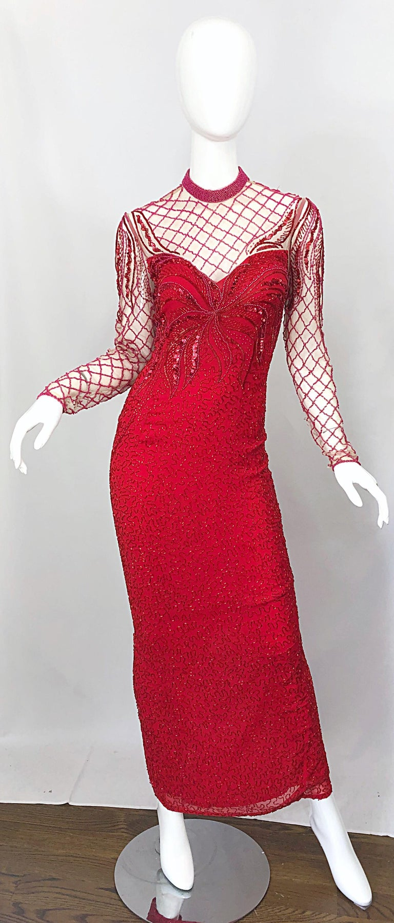 Vintage Oleg Cassini 1990s Lipstick Red Beaded Silk Chiffon 90s Evening Gown For Sale 6