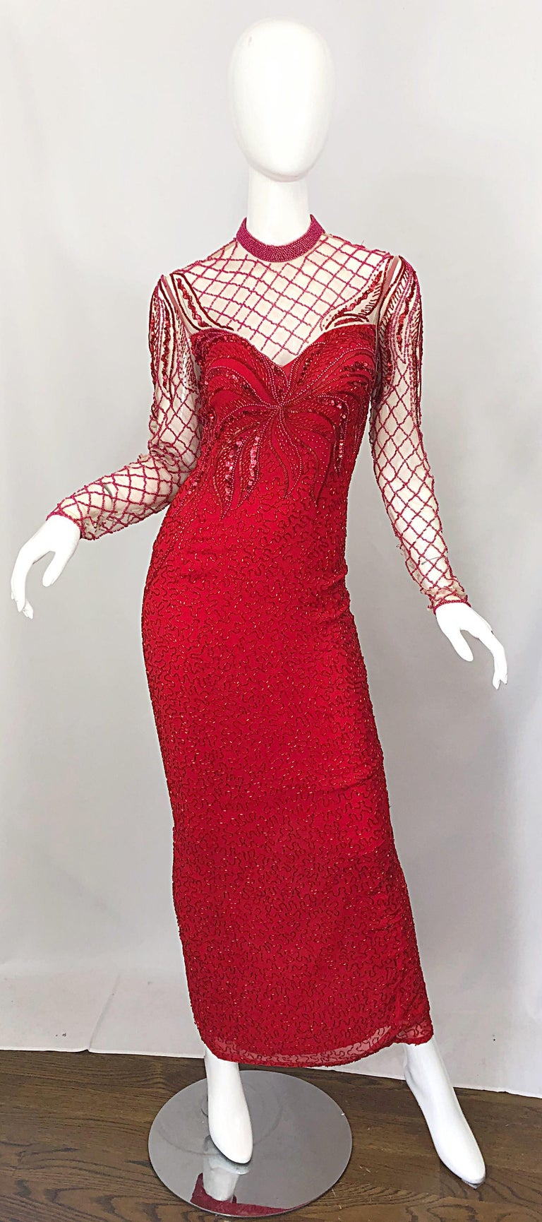 Sensational vintage early 90s OLEG CASSINI lipstick red silk chiffon fully beaded evening gown / dress ! Features thousands of hand-sewn beads and sequins throughout. Sheer mesh above the bust with beadwork. Hidden zipper up the back with