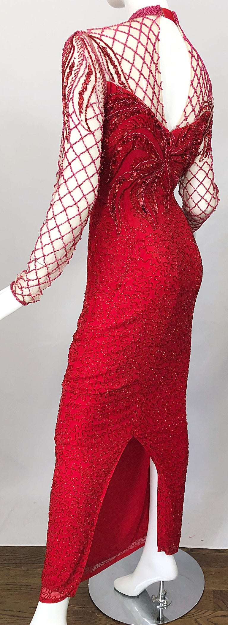 Vintage Oleg Cassini 1990s Lipstick Red Beaded Silk Chiffon 90s Evening Gown In Excellent Condition For Sale In Chicago, IL