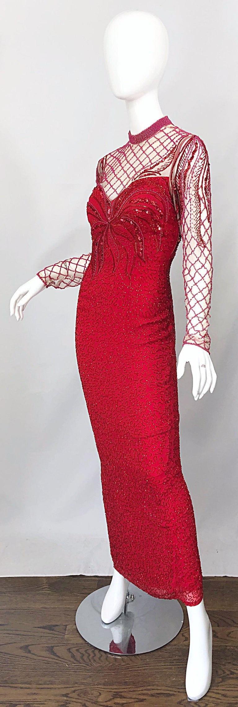 Vintage Oleg Cassini 1990s Lipstick Red Beaded Silk Chiffon 90s Evening Gown For Sale 1