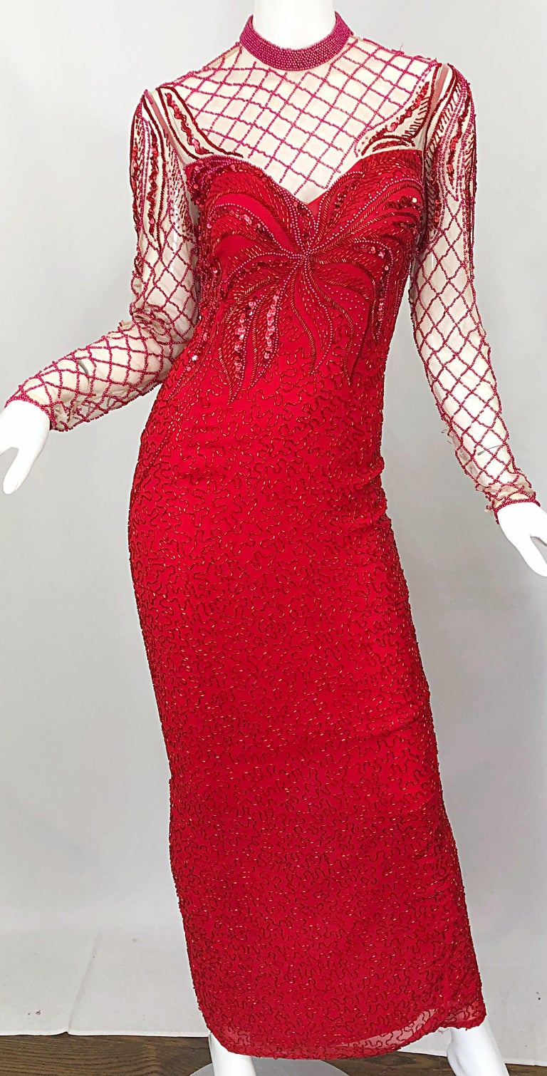 Vintage Oleg Cassini 1990s Lipstick Red Beaded Silk Chiffon 90s Evening Gown For Sale 2