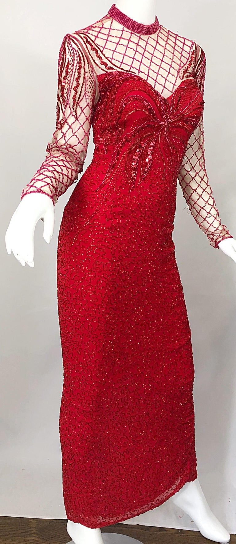 Vintage Oleg Cassini 1990s Lipstick Red Beaded Silk Chiffon 90s Evening Gown For Sale 3