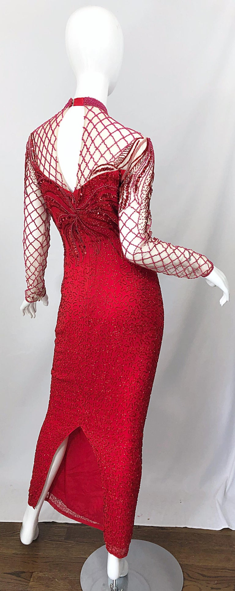 Vintage Oleg Cassini 1990s Lipstick Red Beaded Silk Chiffon 90s Evening Gown For Sale 5