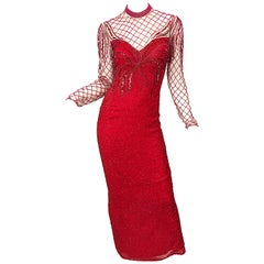 Vintage Oleg Cassini 1990s Lipstick Red Beaded Silk Chiffon 90s Evening Gown