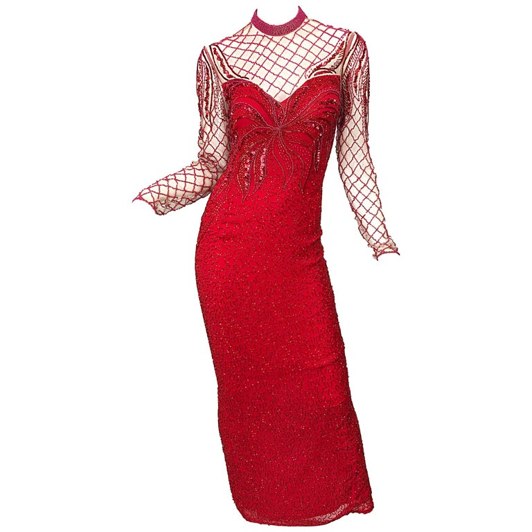 Vintage Oleg Cassini 1990s Lipstick Red Beaded Silk Chiffon 90s Evening Gown For Sale