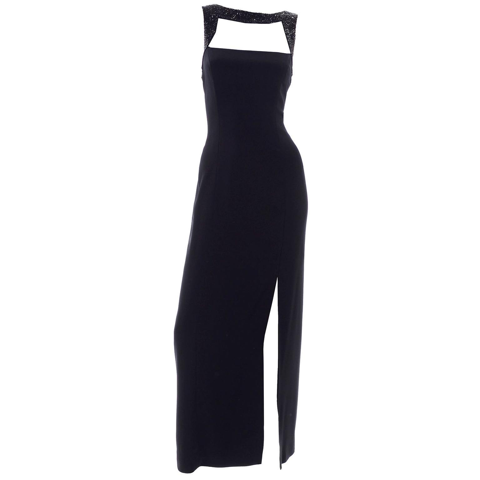 Vintage Oleg Cassini Black Tie Long Beaded Evening Dress With Cutwork Bodice