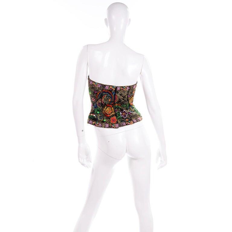 Women's Vintage Oleg Cassini Black Tie Strapless Silk Bustier Top w Sequins & Beaded For Sale