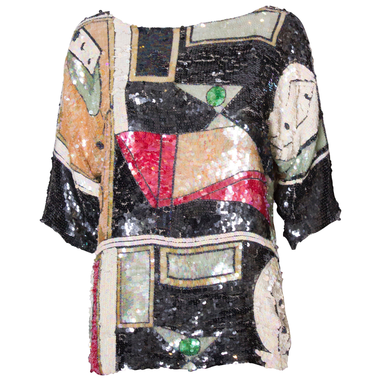 Vintage Oleg Cassini Multi Colour Sequin Top