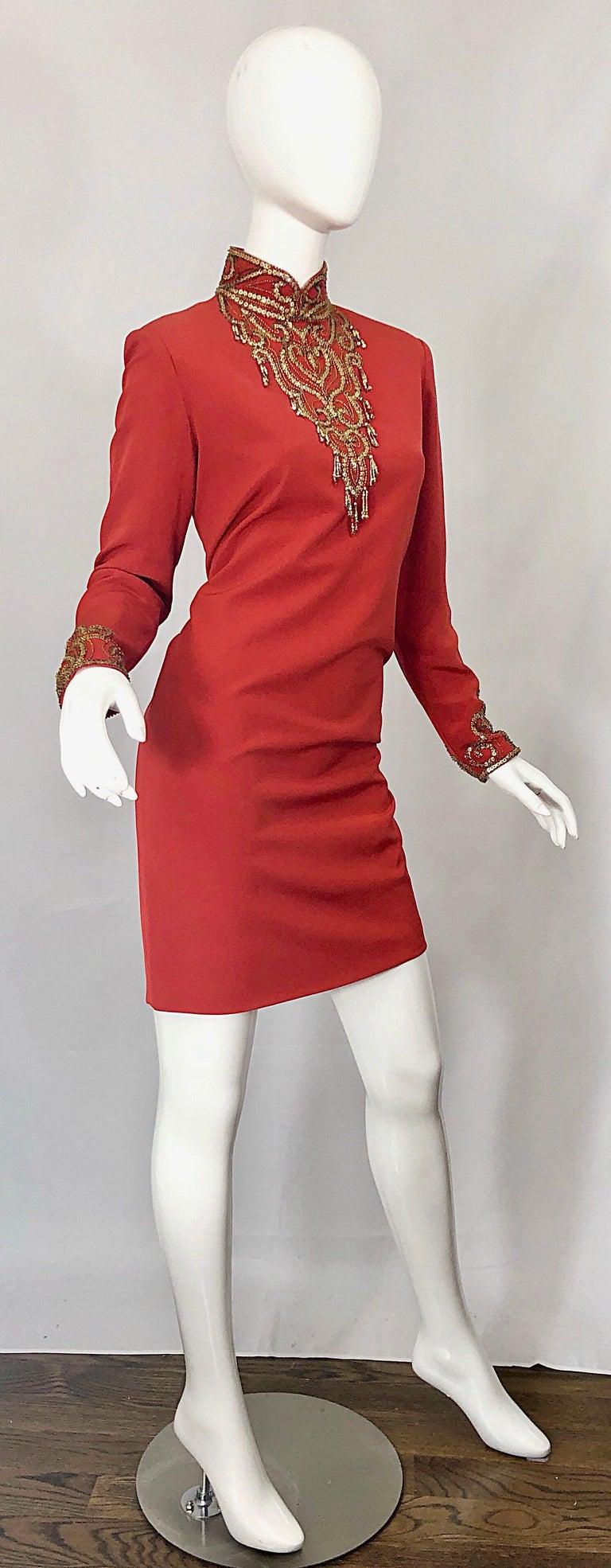 Vintage Oleg Cassini Size 8 1990s Burnt Orange Beaded 90s Long Sleeve Silk Dress For Sale 5