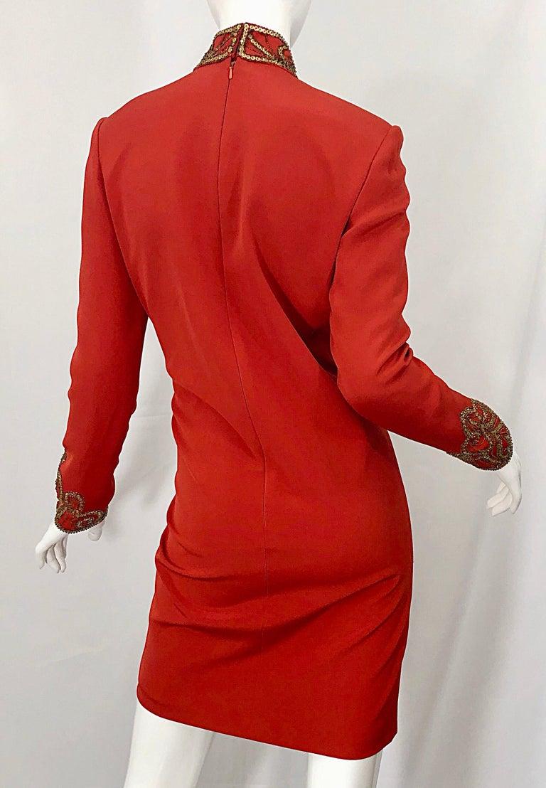 Vintage Oleg Cassini Size 8 1990s Burnt Orange Beaded 90s Long Sleeve Silk Dress For Sale 6