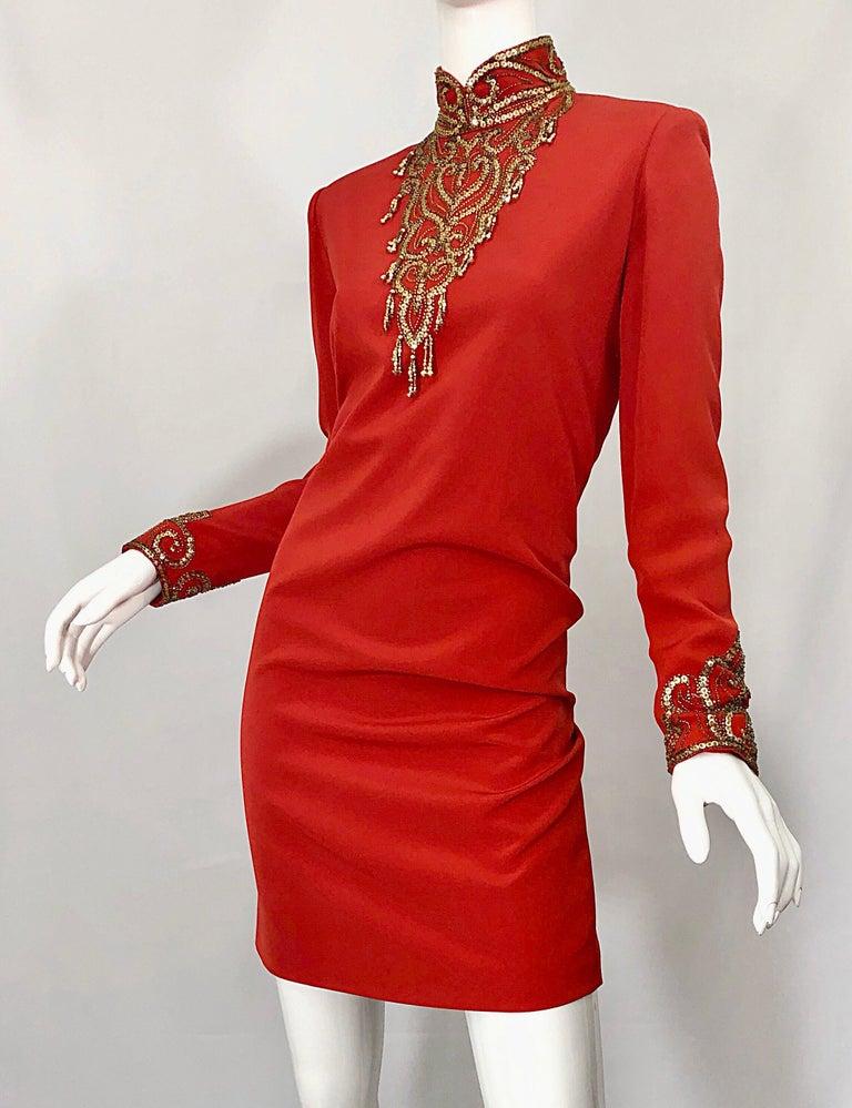 Vintage Oleg Cassini Size 8 1990s Burnt Orange Beaded 90s Long Sleeve Silk Dress For Sale 7