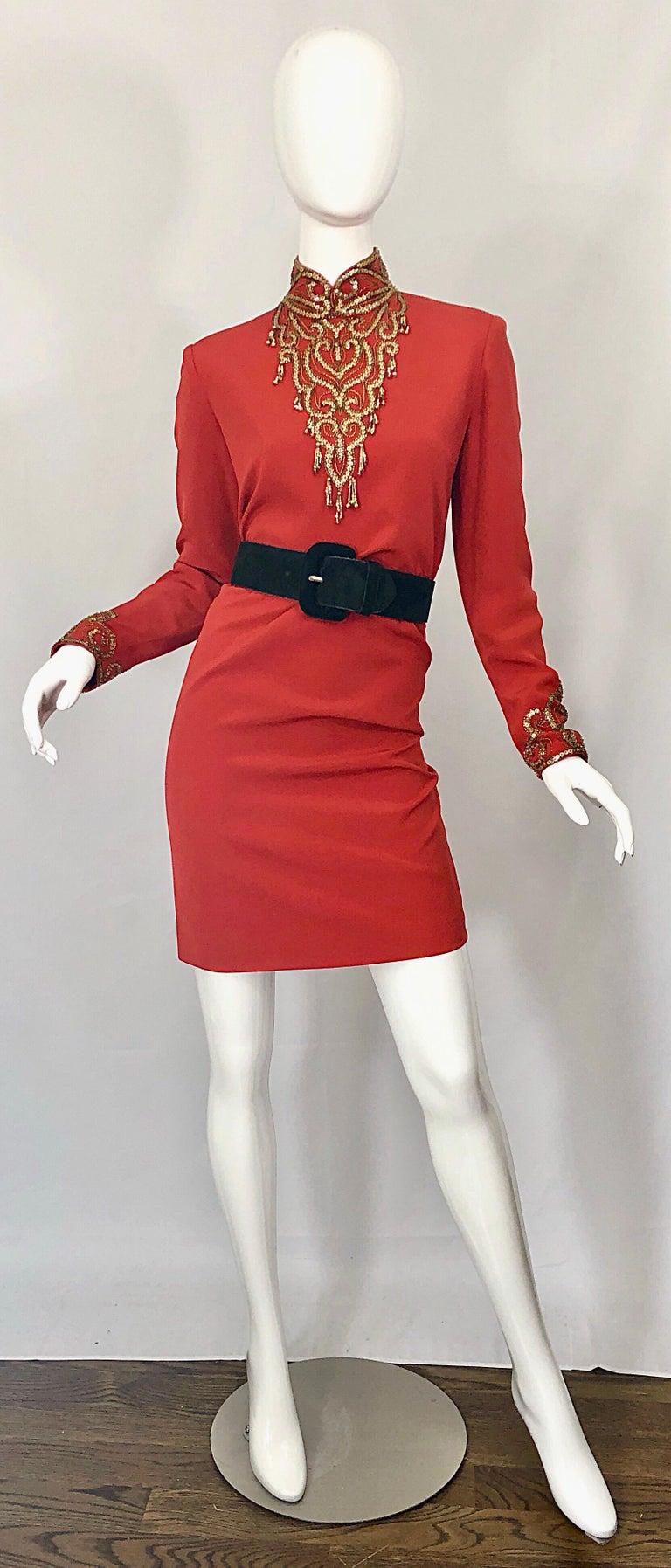 Vintage Oleg Cassini Size 8 1990s Burnt Orange Beaded 90s Long Sleeve Silk Dress For Sale 8
