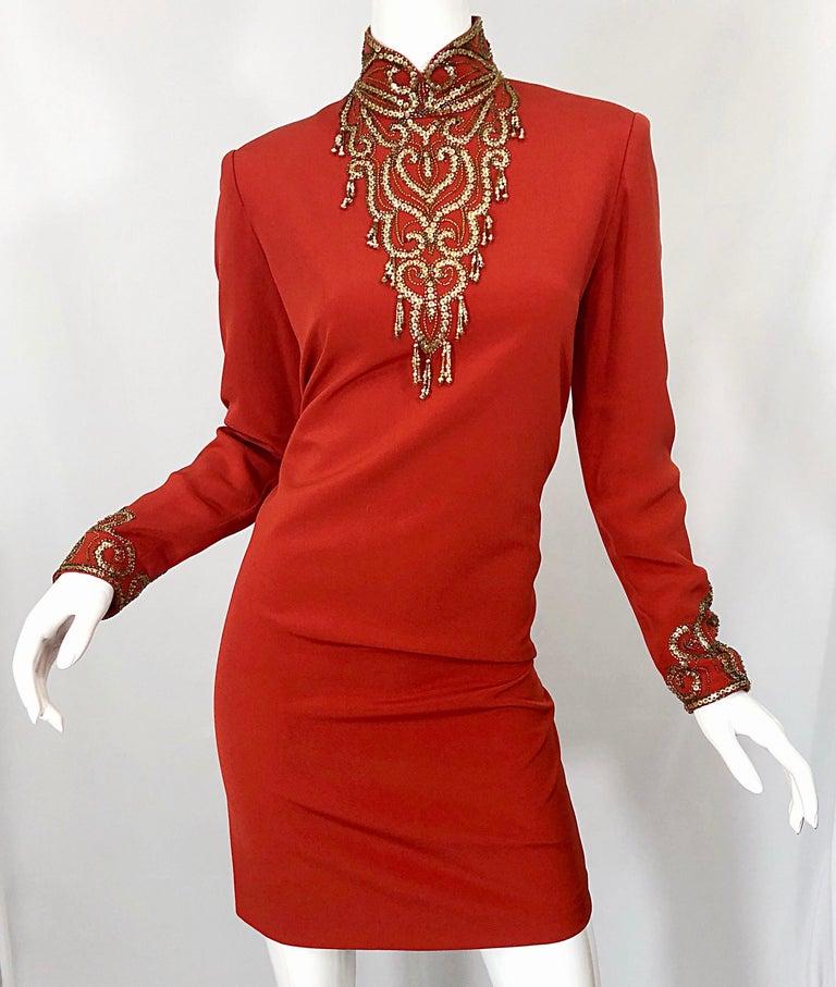 Vintage Oleg Cassini Size 8 1990s Burnt Orange Beaded 90s Long Sleeve Silk Dress For Sale 9