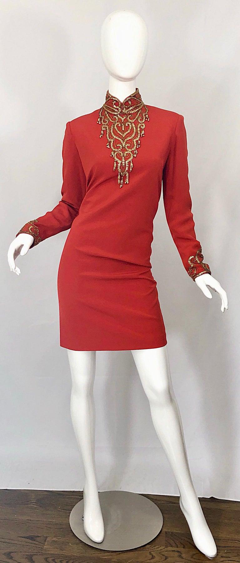 Vintage Oleg Cassini Size 8 1990s Burnt Orange Beaded 90s Long Sleeve Silk Dress For Sale 11