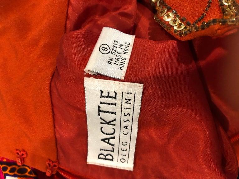 Vintage Oleg Cassini Size 8 1990s Burnt Orange Beaded 90s Long Sleeve Silk Dress For Sale 12