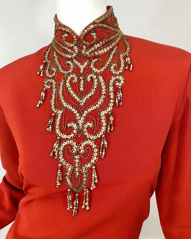 Red Vintage Oleg Cassini Size 8 1990s Burnt Orange Beaded 90s Long Sleeve Silk Dress For Sale
