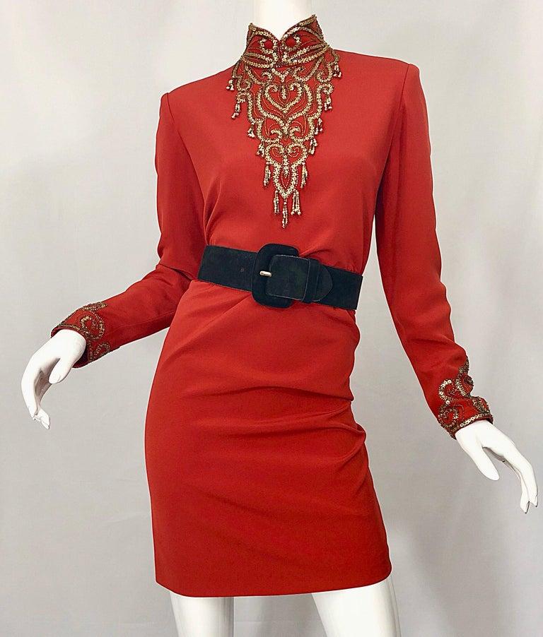 Women's Vintage Oleg Cassini Size 8 1990s Burnt Orange Beaded 90s Long Sleeve Silk Dress For Sale