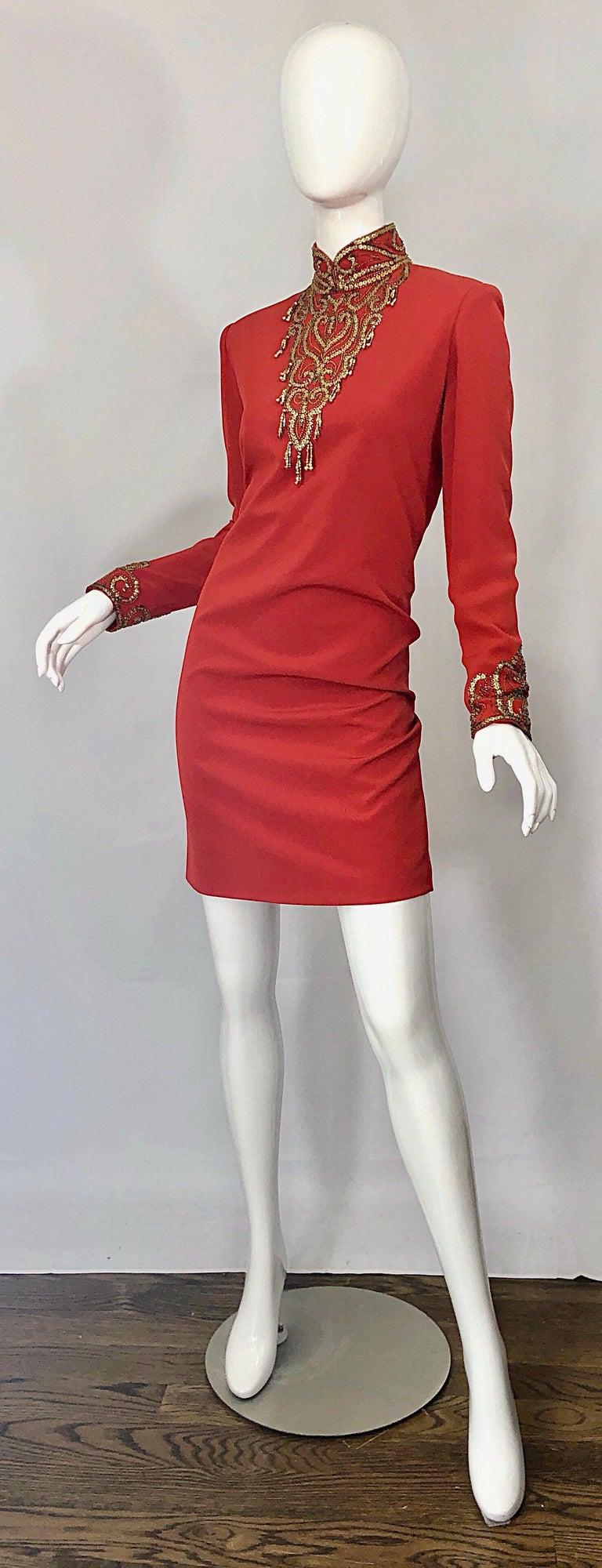 Vintage Oleg Cassini Size 8 1990s Burnt Orange Beaded 90s Long Sleeve Silk Dress For Sale 2