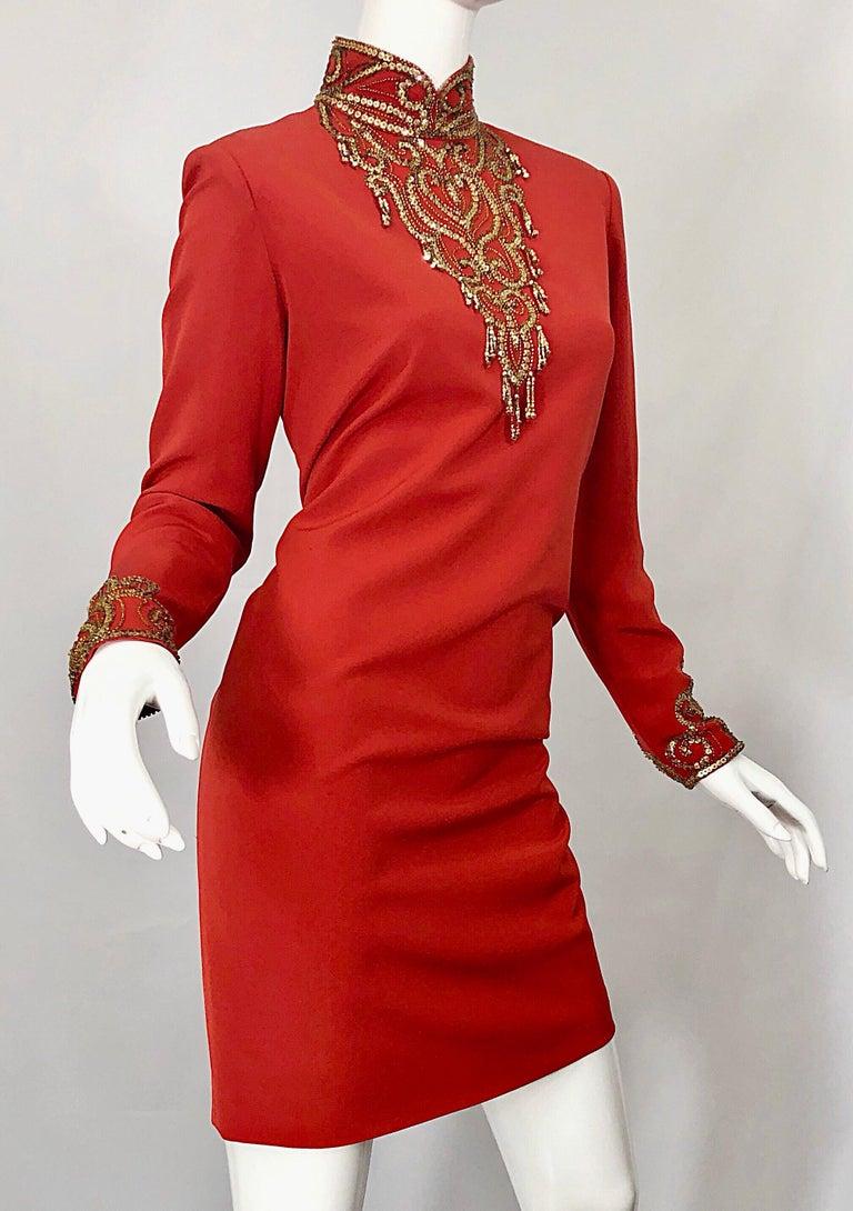 Vintage Oleg Cassini Size 8 1990s Burnt Orange Beaded 90s Long Sleeve Silk Dress For Sale 3