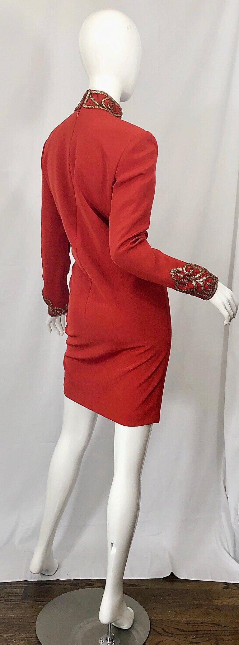 Vintage Oleg Cassini Size 8 1990s Burnt Orange Beaded 90s Long Sleeve Silk Dress For Sale 4