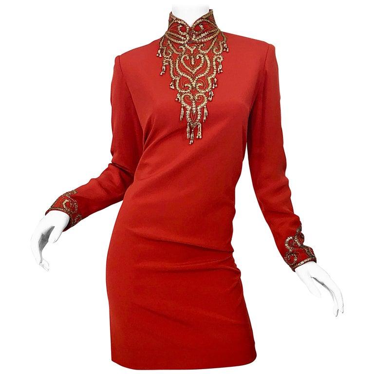 Vintage Oleg Cassini Size 8 1990s Burnt Orange Beaded 90s Long Sleeve Silk Dress For Sale