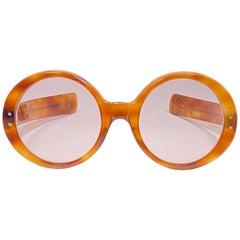 Vintage Oliver Goldsmith Round Thick Tortoise Oversized 1970 England Sunglasses