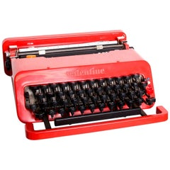 Vintage Olivetti Red Valentine Collector Portable Typewriter by Ettore Sottsass