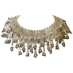 Vintage Ombré Beaded Fringe Bib Statement Necklace