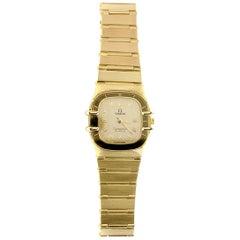Vintage Omega 18 Karat Gold Constellation Manhattan Bracelet Quartz Watch