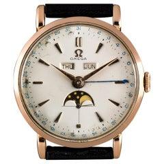 Vintage Omega 18k Rose Gold Triple Calendar Moonphase Watch 2473