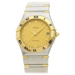 Vintage Omega Constellation Quartz Date 18 Karat Gold Half Bar/SS Men's Watch