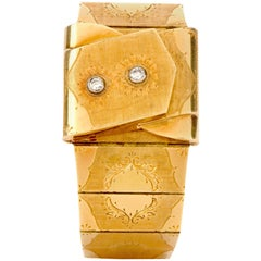 Vintage Omega Diamond 18 Karat Gold Hand Engraved Covered Watch
