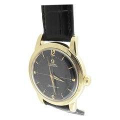 Vintage Omega Seamaster Men's Watch 14k Gold Filled Black Dial Automatic