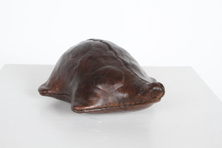 Late 20th Century Vintage Omersa Leather Turtle Use as Paperweight or Decorative, Retains Label For Sale