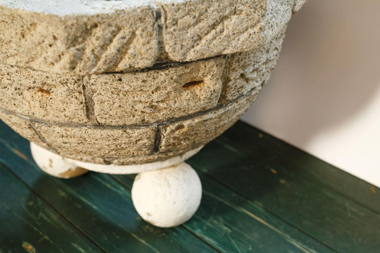 Cement Vintage One-of-a-Kind Cast Planter For Sale