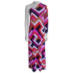 Vintage One Sleeve Maxi dress in Mode Block Print