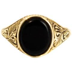 Vintage Onyx 9 Karat Gold Signet Ring