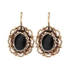 Vintage Onyx and 14 Karat Yellow Gold Drop Earrings