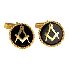 Vintage Onyx and 9 Carat Gold Cuff Links